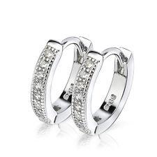 Pure 925 Sterling Silver CZ Crystal Diamante Women Dangle Hoop Earring Unisex