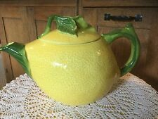 Lemon Teapot. Hearth and Home Designs. Fruit Shaped Yellow & Green Ceramic.