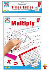 Learn to Multiply Times Tables 20 A5 Wipe Clean Worksheets + Pen Educational