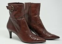 Nine West Eyeopenero Brown Leather Slip Zip Up Ankle Boots Size 8M Free Shipping