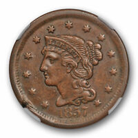 1857 Large Date Braided Hair Large Cent NGC AU 50 About Uncirculated N 1