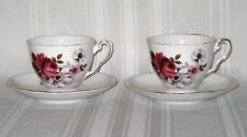 HONEY BUNCH (Roses) - Royal Stafford England - (2) Bone China Cup & Saucer Sets