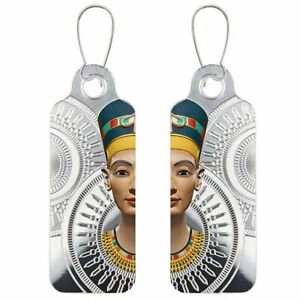 Egyptian Queen Nefertiti - Earrings Proof Silver Coin CFA Cameroon 2018
