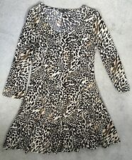 ANIMAL PRINT SCOOP NECK SHORT DRESS WITH 3/4 SLEEVES - SIZE M FROM CUR MODA