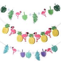 Hawaiian Tropical Flamingo Pineapple Summer Party Decor Banner Garland Bunting