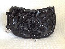BRIGHTON Black Patent ROSELIE Shine Flower Shoulder Bag Purse Handbag-VERY NICE