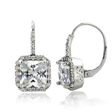 6.5ct CZ Square Halo Leverback Earrings in Brass