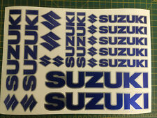 SUZUKI set of Vinyl printed Stickers sheet. Blue and Silver Non OEM
