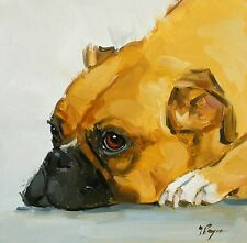 Original Oil painting - portrait of a boxer dog  - by j payne