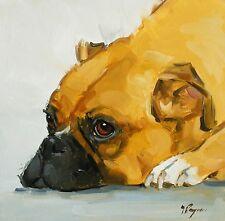 Pintura al óleo originales-Retrato de un perro boxer-por J Payne