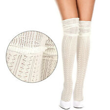 Cozy Ivory Knitted Crochet OTK Thigh Highs Stockings Leg Warmers Long Boot Socks