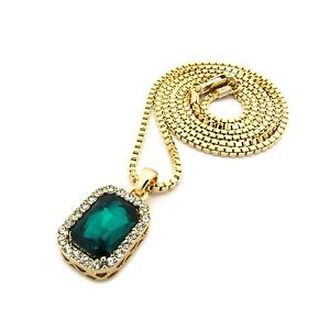 MENS GOLD SQUARE GEM ONYX EMERALD RUBY PINK YELLOWPENDANT BOX CHAIN NECKLACE
