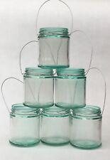 Green Tint Hanging glass wire mason jar Lantern light candle lantern wedding