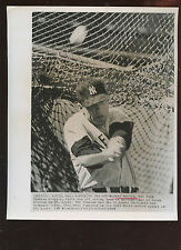 Original October 6 1964 Mickey Mantle Fouling One Off 8 X 10 Wire Photo