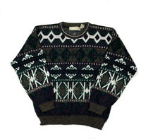 Colorful Geometric Ugly Pullover Sweater 80s Vaporwave Cosby 90s Hipster Men's L