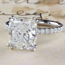3Ct White Cushion Cut Diamond Solitaire Engagement Ring 14K White Gold Finish