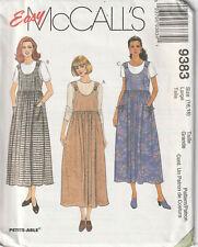 McCalls 9383 Easy Ladies Misses Jumper Sewing Pattern Empire Waist Scoop Neck