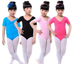 Girls Ladies Cotton Ballet Dance Gymnastics Skate Leotard – Short Sleeve