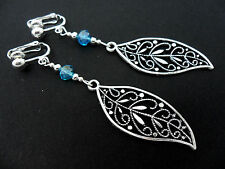 A PAIR OF  TIBETAN SILVER BLUE CRYSTAL  DANGLY LEAF CLIP ON  EARRINGS. NEW.