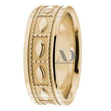 Leaf & Milgrain Design Flat Wedding Band Ring 7.5mm Solid 10K Yellow Gold
