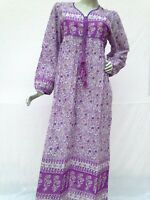 cotton purple floral indian gauze maxi dress gown summer boho dress 51 inch long