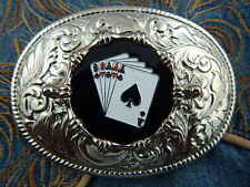 NEW  SILVER METAL BELT BUCKLE ACE OF SPADES FULL HOUSE  PLAYING CARDS  WESTERN