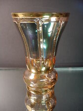 Moser Glass Company Green Luster Cabochon Flared Vase w/Gold Gilt Bohemia Czech