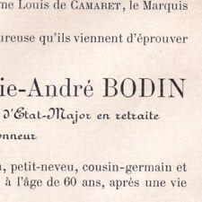Jean Antoine Marie André Bodin Versailles 1902 Lieutenant-Colonel Etat-Major
