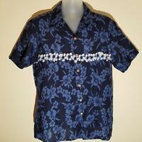 Kennington Men's Short Sleeve Button Down Hawaiian Shirt Blue Floral Size Large