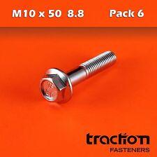 M10 x 50 Flange Bolt High Tensile 8.8 Metric 10mm 50mm Zinc Plated Hexagon Screw
