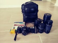 Konica FS-1 Black Body 35 mm SLR Film Camera With 40mm 1:8 Hexanon Lens And More