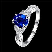 geschenk elegante frauen schmuck prinzessin ring versilbert blaue saphir
