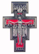 San Damiano Red Enamel Crucifix Visor Clip (WC909) Zinc Alloy Carded NEW