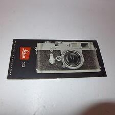 ORIGINALE prospetto descrizione per la vecchia Fotocamera Leica M 3