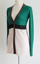 MARNI Colour Blocked Long Cardigan Button Front V Neck Size IT 44 Uk 12/14