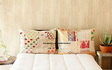 2 PC Vintage Silk Kantha Cushion Cover Bed Throw Pillow Case Patchwork Pillows
