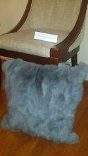 "Handmade 100% Genuine Rabbit Fur 18""x18"" Gray Pillow Cushion Case & fabric back"