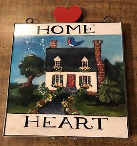 "2007 Nancy Thomas Art For Living Home Heart Bird On House Wall Art 9.75""x8"""