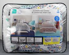 MainStays 2 Comforter Covers & Insert Set w/ Matching Shams & Decor Pillow T/Txl