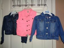 Lot of 3 Gymboree Carter Toughskins Girls Denim Jackets & Pink Vest SZ 4/4T (XS)