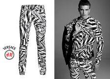 VERSACE x H&M Asymmetric Print Men Pants Slim Fit Jeans Rare Black White EUR32 Y