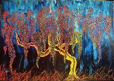 quadro moderno dipinto a mano olio su tela 100x70 glicine paesaggio M. RANCURA