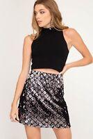 Women's Sequin Checker Mini Skirt Black Gold Silver She + Sky Sizes S, M, L New