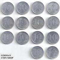 DDR - Set 14 verschiedene 10 Pfennig 1963 - 1989 A Aluminium