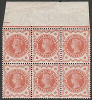 1887 JUBILEE SG197 1/2d VERMILION BLOCK OF 6 RARE PERF EXTENSION IN MARGIN