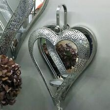 Wall Mounted Mirrored Heart Candle tealight Holder Silver Finish Wall Sconce