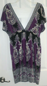 Rhapsody Womens Sz Med Purple and Black V Plunge Neck Stretch Tunic Dress