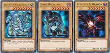 Blue Eyes White Dragon Dark Magician Red Eyes Black Dragon 3 Card Set Lot LC01*