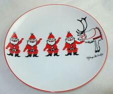Retro Georges Briard Mid Century Christmas Santas Elves Reindeer Plate