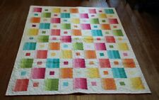Colorful Rainbow Bright Quilt Lap/Throw 56 x 69 Vibrant Multi-Color Yellow, Teal